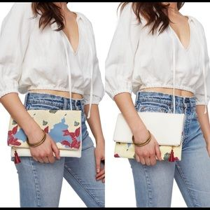 Reversible Cream & Floral Clutch by Rachel Pally